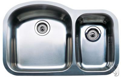 "Blanco Wave Plus 440167 31"" Undermount Double Bowl Stainless Steel Sink with 18-Gauge, 18/10 Chrome/Nickel Content and 3-1/2"" Drains: 10"" Bowl Depth"