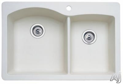 Blanco Diamond 440217 33 Inch Drop-in/undermount Double Bowl Granite Sink With 9-1/2 Inch Large Bowl Depth, 80% Granite, Non-porous, Heat/scratch/stain Resistant And 1 Pre-drilled Hole: Bisque
