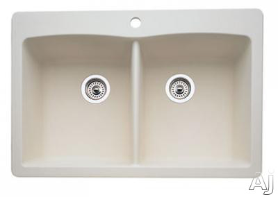 Blanco Diamond 440222 33 Inch Drop-in/undermount Double Bowl Granite Sink With 9-1/2 Inch Bowl Depths, 80% Granite, Non-porous, Heat/scratch/stain Resistant And 1 Pre-drilled Hole: Bisque