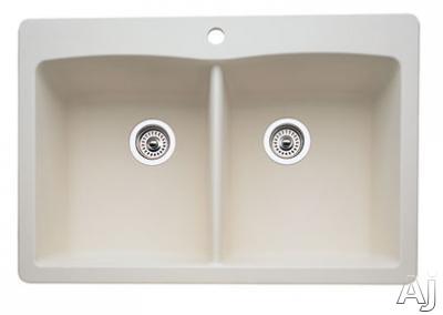 "Blanco Diamond 440222 33"" Drop-In / Undermount Double Bowl Granite Sink with 9-1 / 2"" Bowl Depths, U.S. & Canada 440222"