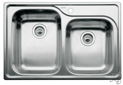 "Blanco Supreme 440239 33"" Drop-In Double Bowl Stainless Steel Sink with 18-Gauge, 18/10 Chrome/Nickel Content, 3-1/2"" Drain and 1 Pre-Drilled Hole: 10"" and 8"" B"