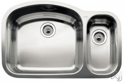 "Blanco Wave 440246 32"" Undermount Double Bowl Stainless Steel Sink with 18-Gauge, 18/10 Chrome/Nickel Content, 3-1/2"" Drain and Satin Polished Finish: 10"" and 6"