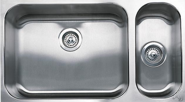 Blanco Spex Plus 440256 32 Inch Undermount Double Bowl Stainless Steel Sink with 18-Gauge, 8-1/2 Inch Large Bowl Depth, 5-1/4 Inch Small Bowl Depth, 3-1/2 Inch Drains and Satin Finish