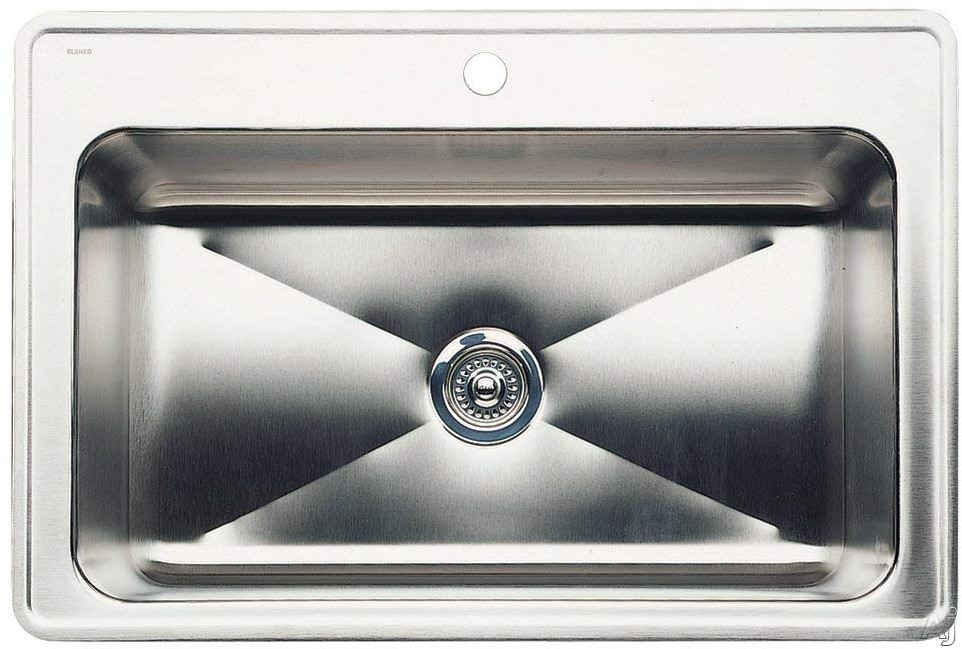 Blanco Magnum 440274 33 Inch Drop-In Large Single Bowl Stainless Steel Sink with 8 Inch Bowl Depth