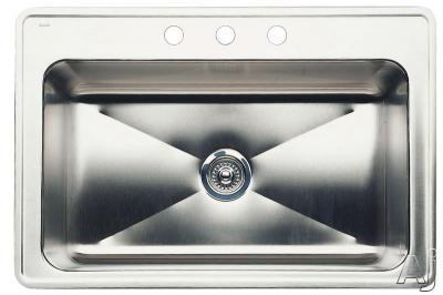 Image of Blanco Magnum 440282 33 Inch Drop-In Single Bowl Stainless Steel Sink with 18-Gauge, 18/8 Chrome/Nickel Content, 3-1/2 Inch Drain and 3 Pre-Drilled Faucet Holes: 12 Inch Bowl Depth