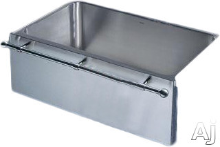 "Blanco Magnum 440294 30"" Apron Front Single Bowl Stainless Steel Sink with 18-Gauge, 12"" Bowl Depth, 18/8 Chrome/Nickel Content, 3-1/2"" Drain and Stainless Steel Towel Bar"
