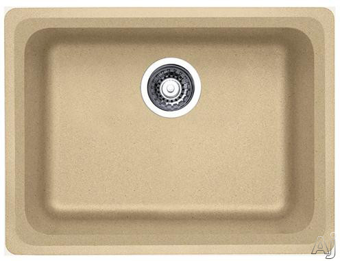 Picture of Blanco 441368 24 Inch Undermount Single Bowl Granite Sink with 8 Inch Bowl Depth Heat Resistant Up To 536 Degrees Farenheit and Scratch Resistant Biscotti