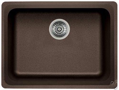Picture of Blanco 441369 24 Inch Undermount Single Bowl Granite Sink with 8 Inch Bowl Depth Heat Resistant Up To 536 Degrees Farenheit and Scratch Resistant Cafe Brown