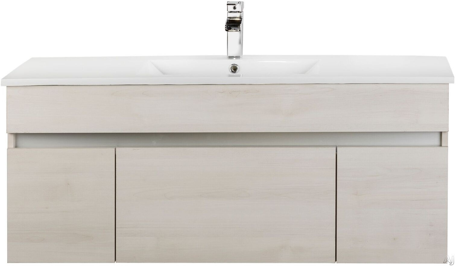 Cutler Kitchen & Bath Ivory FVCHFH48 48 Inch Wall Mount Bathroom Vanity with 1 Soft Close Drawer, Countertop and Sink and European Soft-Close Hardware: Fogo Harbor