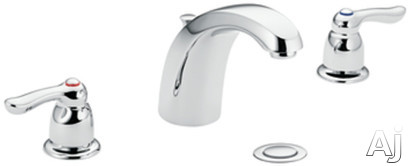 "Moen Chateau 4945 Double Lever Lavatory Faucet with 5-1/2"" Reach, 4-1/4"" Height, 1/2"" IPS Connections and Metal Drain Assembly: Chrome"