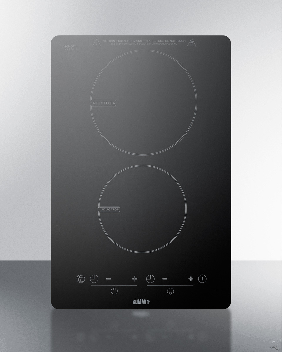 Summit SINC2B120 13 Inch Induction Cooktop with 7-Piece Cookware Set, Hot Surface Indicator, Child Lock, 2 Cooking Zones, 14 Power Levels, ADA Compliant