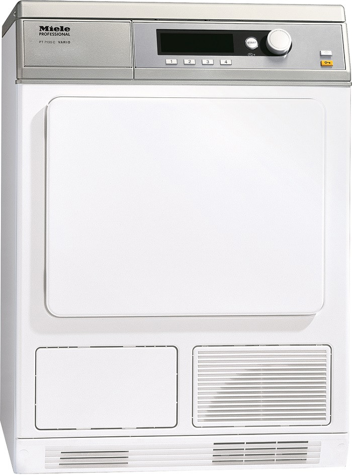 Miele Professional Little Giant Series PT7135CW 24 Inch 4.54 cu. ft. Electric Dryer with 15 Dry Programs, Electronic Moisture Monitoring, Extra Large Surface Area Filter, Large LCD Screen and Honeycomb Drum with Interior Light: Lotus White