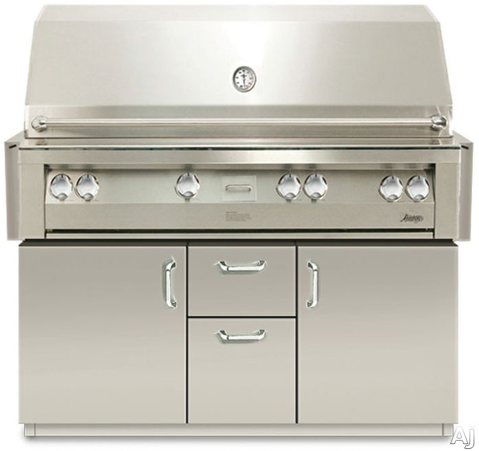 Vintage VBQ56G 56 Inch Built-in Gas Grill with 998 sq. in. Cooking Surface, 82,500 Primary Burner BTUs, Rotisserie Kit, Smoker and Halogen Lighting VBQ56G