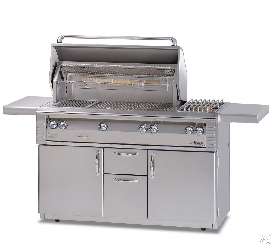 Alfresco LX2 ALX256C 56 Inch Freestanding Gas Grill with 998 sq. in. Cooking Surface, Stainless Steel Main Burners, Integrated Rotisserie Motor, Halogen Work Lights and 17,000 BTU Side Burner ALX256C