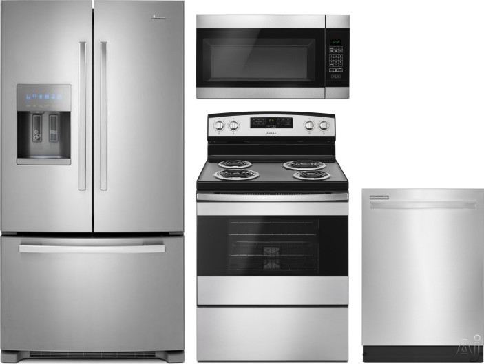 Amana AMRERADWMW4 4 Piece Kitchen Appliances Package with French Door Refrigerator, Electric Range, Dishwasher and Over the Range Microwave in Stainless Steel