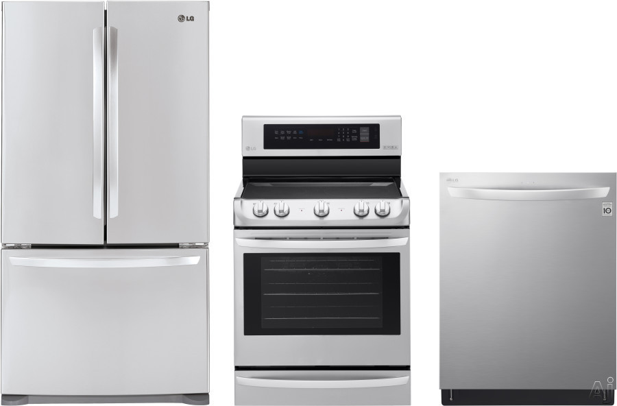 Picture of LG LGRERADW31 3 Piece Kitchen Appliances Package with French Door Refrigerator Electric Range and Dishwasher in Stainless Steel
