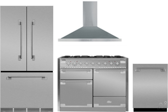 Picture of AGA Elise AGRERADWRH7 4 Piece Kitchen Appliances Package with French Door Refrigerator Dual Fuel Range and Dishwasher in Stainless Steel