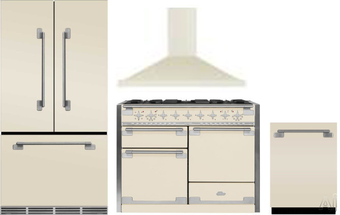 Picture of AGA Elise AGRERADWRH11 4 Piece Kitchen Appliances Package with French Door Refrigerator Dual Fuel Range and Dishwasher in Ivory