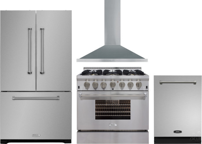 AGA Professional Series AGRERADWRH15 4 Piece Kitchen Appliances Package with French Door Refrigerator, Dual Fuel Range and Dishwasher in Stainless Steel