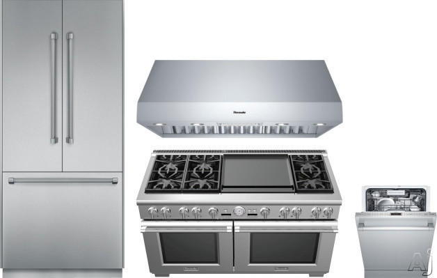 Image of Thermador Freedom Collection THRERADWRH155 4 Piece Kitchen Appliances Package with French Door Refrigerator, Dual Fuel Range and Dishwasher in Stainless Steel