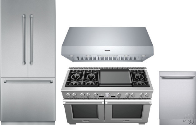 Image of Thermador Freedom Collection THRERADWRH156 4 Piece Kitchen Appliances Package with French Door Refrigerator, Dual Fuel Range and Dishwasher in Stainless Steel
