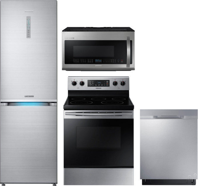 Image of Samsung Chef Collection SARERADWMW1010 4 Piece Kitchen Appliances Package with Bottom Freezer Refrigerator, Electric Range, Dishwasher and Over the Range Microwave in Stainless Steel