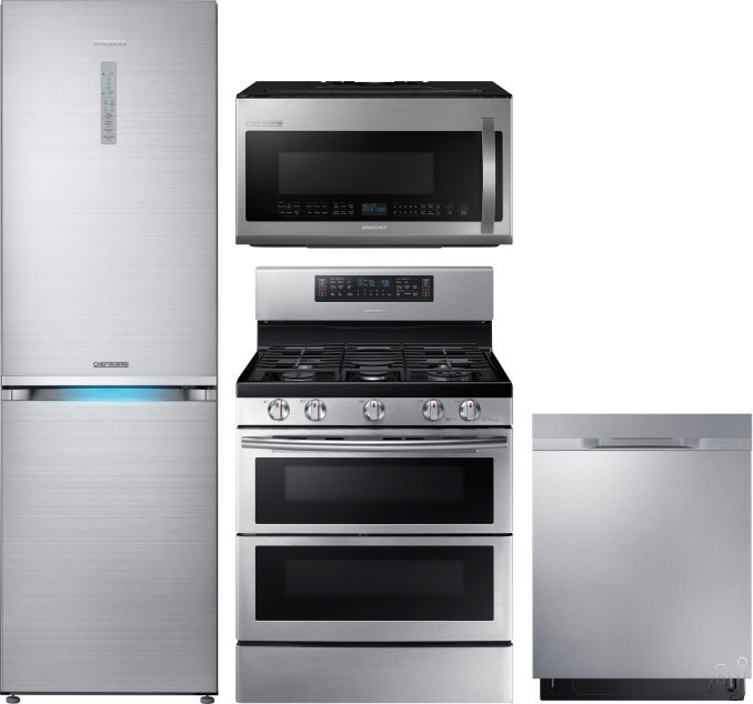 Image of Samsung Chef Collection SARERADWMW1011 4 Piece Kitchen Appliances Package with Bottom Freezer Refrigerator, Gas Range, Dishwasher and Over the Range Microwave in Stainless Steel