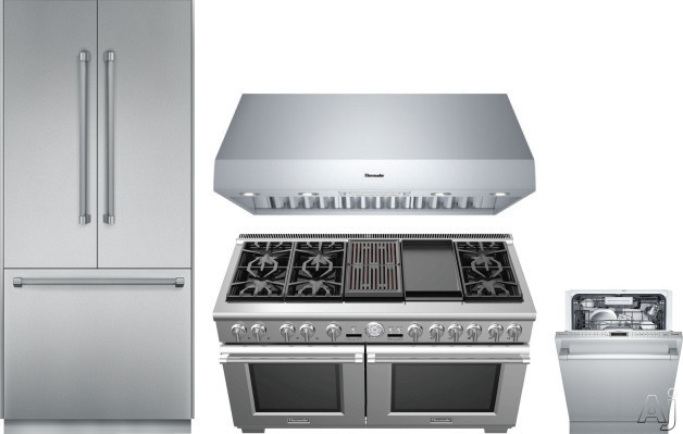 Image of Thermador Freedom Collection THRERADWRH159 4 Piece Kitchen Appliances Package with French Door Refrigerator, Dual Fuel Range and Dishwasher in Stainless Steel