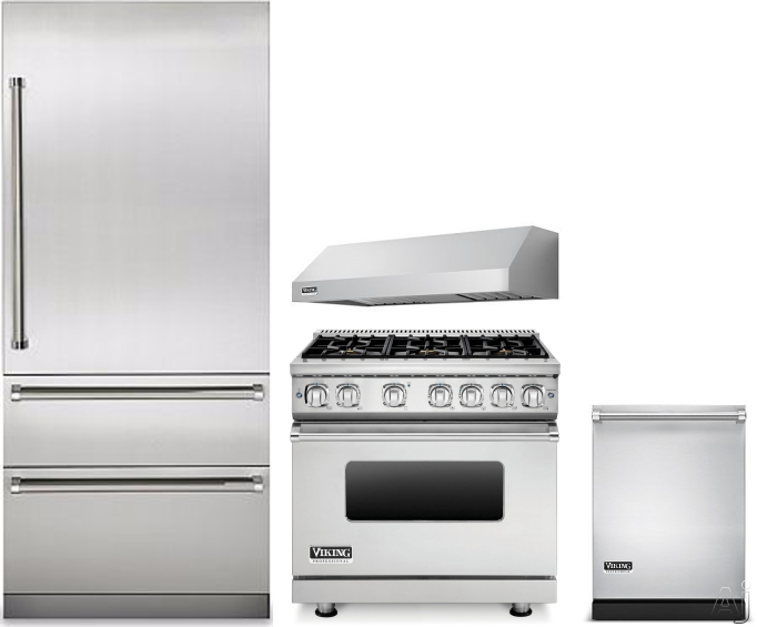 Image of Viking Professional 7 Series VIRERADWRH290 4 Piece Kitchen Appliances Package with Bottom Freezer Refrigerator, Gas Range and Dishwasher in Stainless Steel