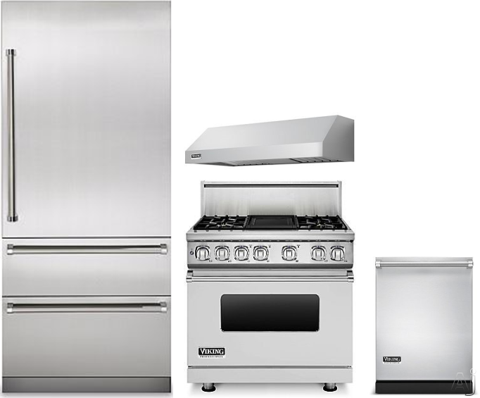 Image of Viking Professional 7 Series VIRERADWRH314 4 Piece Kitchen Appliances Package with Bottom Freezer Refrigerator, Dual Fuel Range and Dishwasher in Stainless Steel