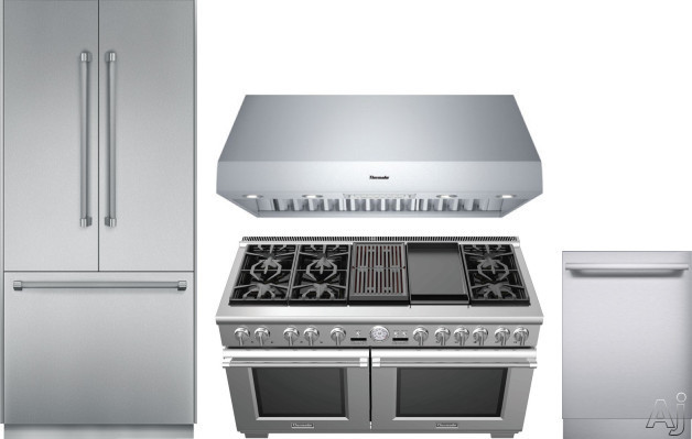 Image of Thermador Freedom Collection THRERADWRH164 4 Piece Kitchen Appliances Package with French Door Refrigerator, Dual Fuel Range and Dishwasher in Stainless Steel