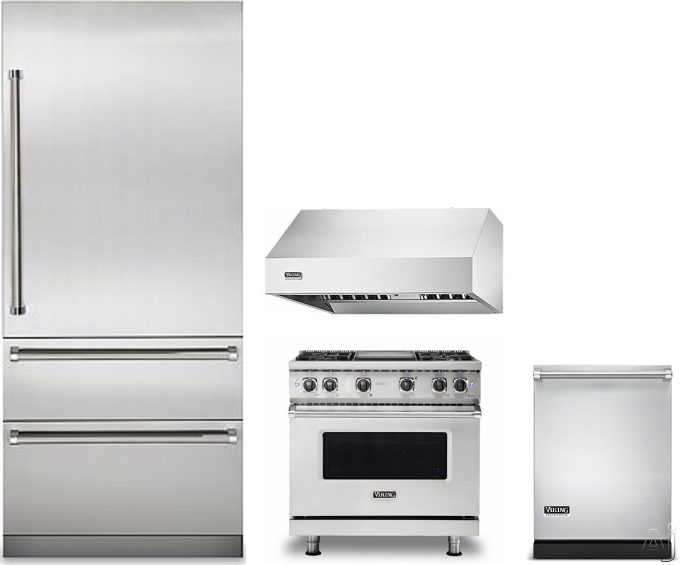 Image of Viking Professional 7 Series VIRERADWRH381 4 Piece Kitchen Appliances Package with Bottom Freezer Refrigerator, Gas Range and Dishwasher in Stainless Steel