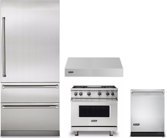 Image of Viking Professional 7 Series VIRERADWRH382 4 Piece Kitchen Appliances Package with Bottom Freezer Refrigerator, Gas Range and Dishwasher in Stainless Steel