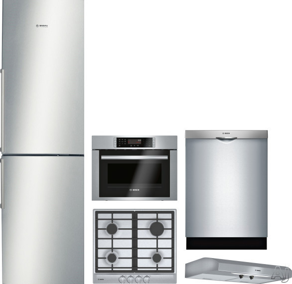 Bosch 500 Series BORECTWODWRH1 5 Piece Kitchen Appliances Package with Bottom Freezer Refrigerator and Dishwasher in Stainless Steel