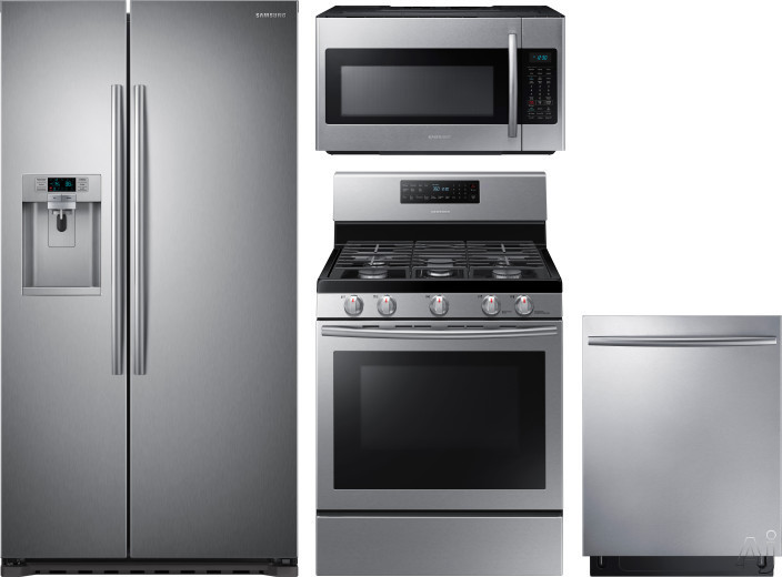Picture of Samsung SARERADWMW1404 4 Piece Kitchen Appliances Package with Side-by-Side Refrigerator Gas Range Dishwasher and Over the Range Microwave in Stainless Steel