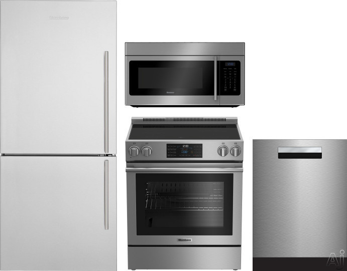 Blomberg BLRERADWMW188 4 Piece Kitchen Appliances Package with Bottom Freezer Refrigerator, Electric Range, Dishwasher and Over the Range Microwave in Stainless Steel