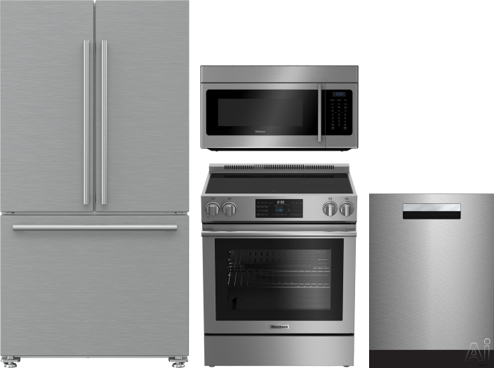 Blomberg BLRERADWMW203 4 Piece Kitchen Appliances Package with French Door Refrigerator, Electric Range, Dishwasher and Over the Range Microwave in Stainless Steel