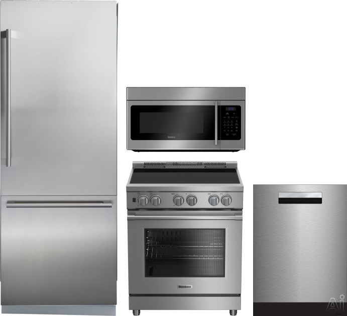 Blomberg BLRERADWMW207 4 Piece Kitchen Appliances Package with Bottom Freezer Refrigerator, Electric Range, Dishwasher and Over the Range Microwave in Stainless Steel