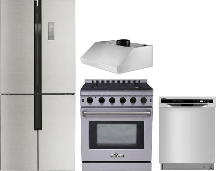 Thor Kitchen TRRERADWRH1 4 Piece Kitchen Appliances Package with French Door Refrigerator, Gas Range and Dishwasher in Stainless Steel