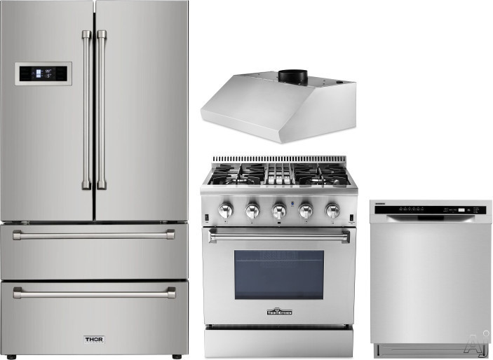 Thor Kitchen TRRERADWRH3 4 Piece Kitchen Appliances Package with French Door Refrigerator, Dual Fuel Range and Dishwasher in Stainless Steel
