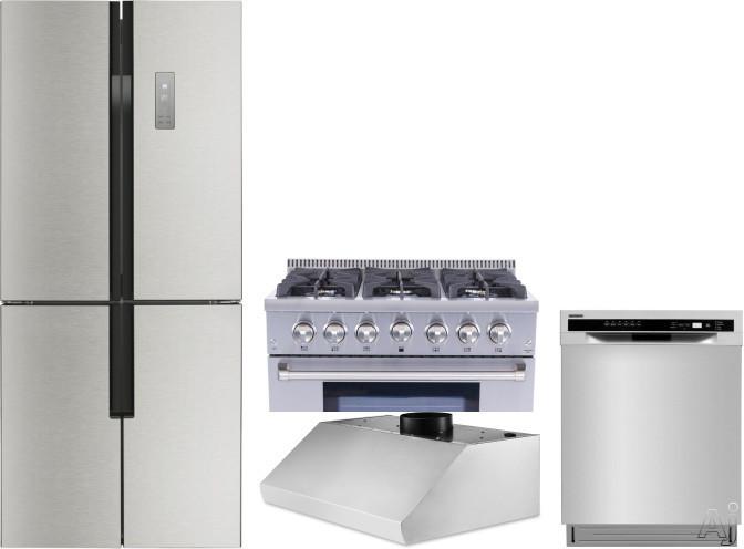 Thor Kitchen TRRERADWRH5 4 Piece Kitchen Appliances Package with French Door Refrigerator, Gas Range and Dishwasher in Stainless Steel