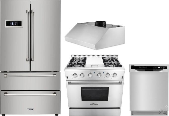 Thor Kitchen TRRERADWRH7 4 Piece Kitchen Appliances Package with French Door Refrigerator, Gas Range and Dishwasher in Stainless Steel