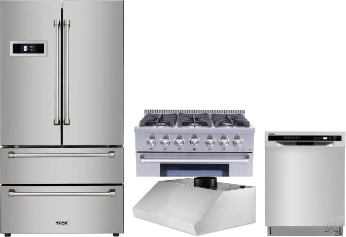 Thor Kitchen TRRERADWRH8 4 Piece Kitchen Appliances Package with French Door Refrigerator, Gas Range and Dishwasher in Stainless Steel