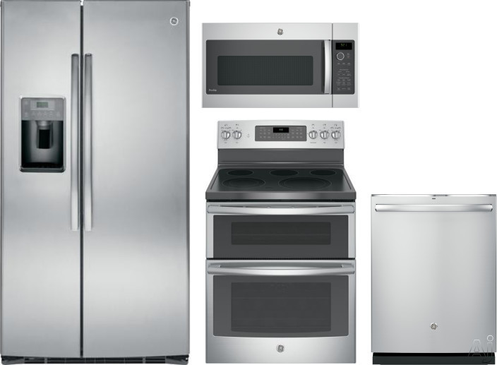GE GERERADWMW12127 4 Piece Kitchen Appliances Package with Side-by-Side Refrigerator, Electric Range, Dishwasher and Over the Range Microwave in Stainless Steel