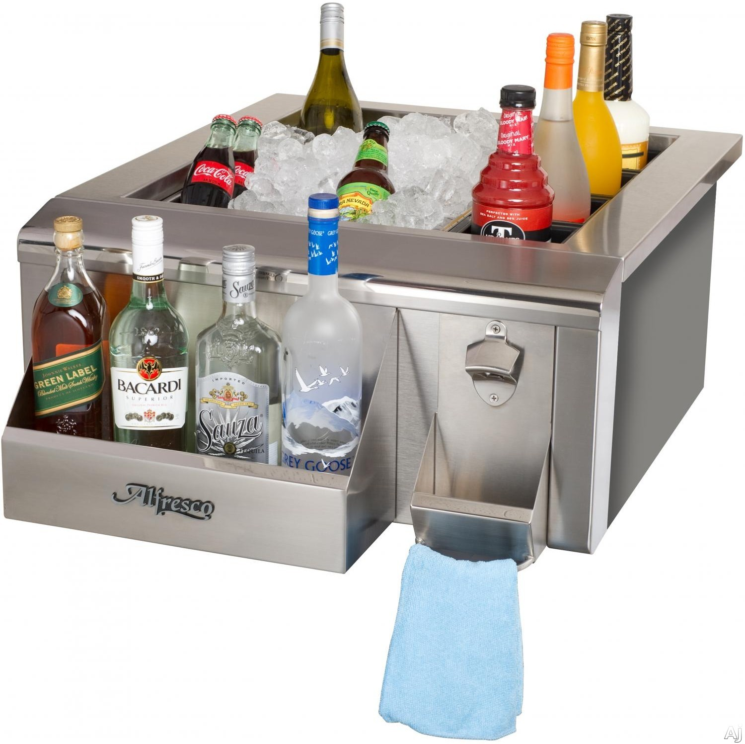 Alfresco AGBC24 24 Inch Built In Bartender and Sink System with 3 Inch Basket Drain and Stopper 1 Inch Thick Foam Insulation 60 Lbs Ice Capacity Sliding Ice Cover Bottle Speed Rail and Bottle Cap Open