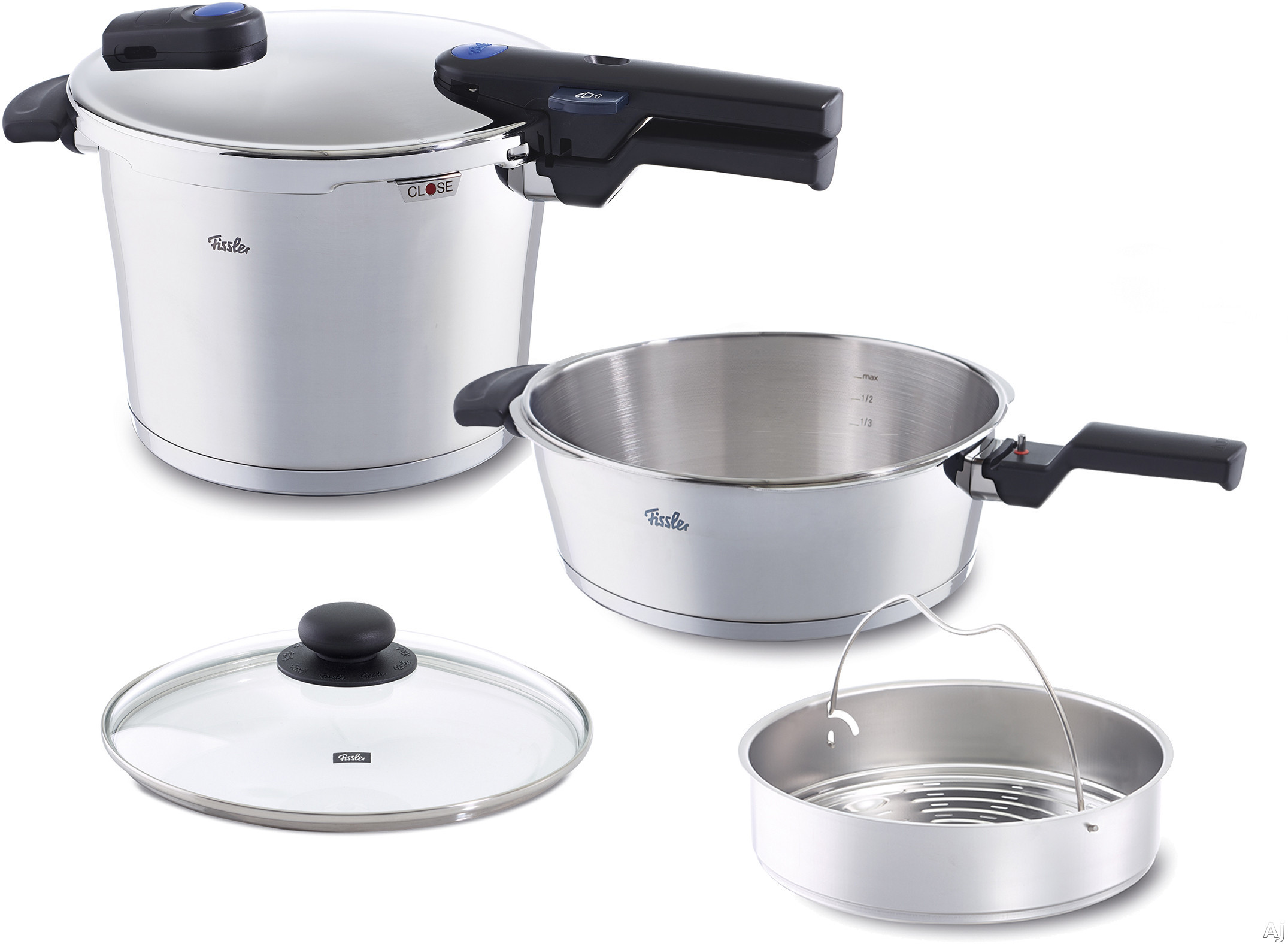 "Fissler 60070011099 Vitaquick Large Pressure Cooker Set with Cookstarâ""¢ Stove Base, Novogrillâ""¢ Skillet, Cooking Indicator, Auto Steam Release, Rivet Free Interior, Safety Lock, Integrated M"