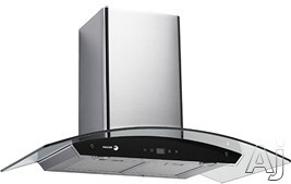 Fagor 60CFG Wall Mount Range Hood with 600 CFM Internal Blower 3 Speed Settings Halogen Surface Lighting Shut Off Delay Options and Dishwasher Safe Filters