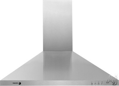 Fagor 60CFP Wall Mount Range Hood with 600 CFM Internal Blower 3 Speed Settings Halogen Surface Lighting Automatic Shut Off and Dishwasher Safe Filters