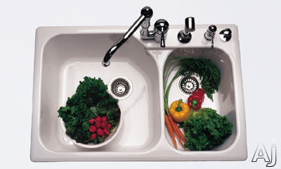 """Rohl Allia 6327 33"""" Fireclay Double-Bowl Sink with 10"""" / 8"""" Extra Deep Bowls, 4-Mounting Holes, U.S. & Canada 6327"""