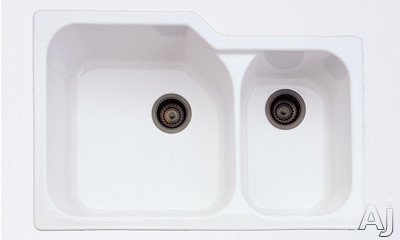 """Rohl Allia 6337 33"""" Undermount Double Bowl Sink with 10"""" / 8"""" Extra Deep Bowls, Fireclay, U.S. & Canada 6337"""